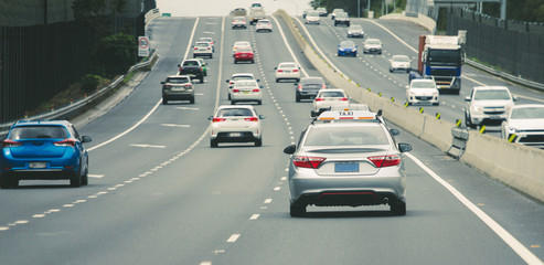 Cars heavy traffic on highway