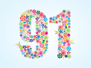 Vector Colorful Floral 91 Number Design isolated on white background. Floral Number Ninety One Vector Typeface.