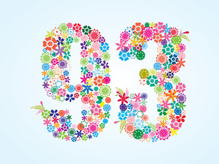 Vector Colorful Floral 93 Number Design isolated on white background. Floral Number Ninety Three Vector Typeface.