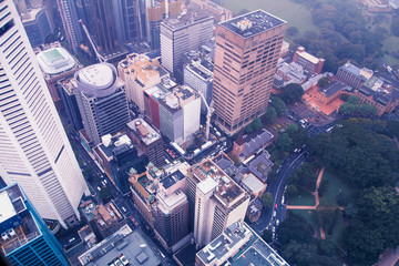 Sidney downtown city center aerial view