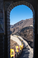 Photo sur Aluminium Muraille de Chine China's famous landmark buildings, the Great Wall and mountains.