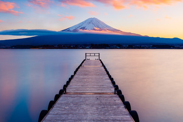 Mt. Fuji with a leading dock in Lake Kawaguchi, Japan Wall mural