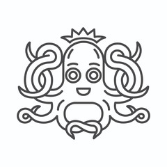 Cute Octopus with crown logo. Isolated octopus on white background