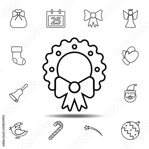 Christmas Wreath Icon Simple Thin Line Outline Vector Element Of