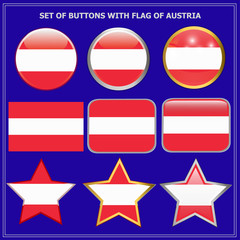 Bright buttons with flag of Austria. Happy Austria day set of buttons. Bright illustration with flag and blue background.