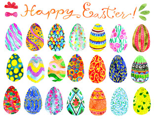 Design set with beautiful colorful painted decorated eggs. Hand drawn illustration. Happy Easter! Graphic spring elements for invitation, greeting card, decoration, isolated object on white background