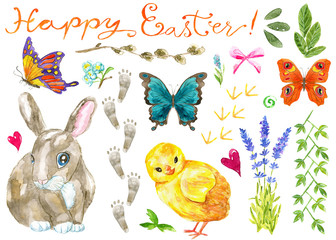 Design set with Easter concept, funny rabbit, chicken, spring flowers and herbs, butterflies. Hand drawn illustration. Happy Easter! Graphic spring elements for invitation, greeting card, decoration