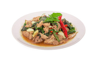 Stir-fried pork with basil leaves in plate