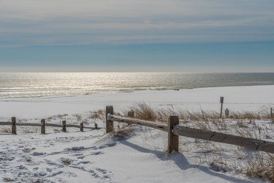 Empty beach after snowfall