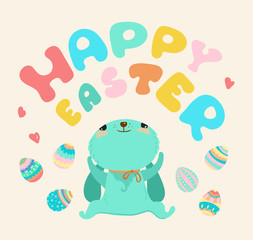 Easter illustration, Cute cartoon rabbit