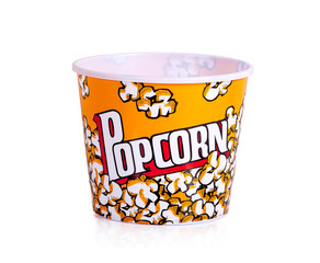Popcorn bucket red and yellow on a white background