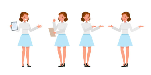 Business Woman showing different gestures character vector design. no5