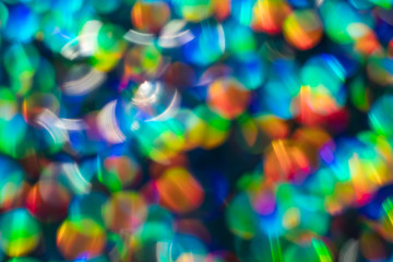 Rainbow blue glitter festive background with bokeh lights. Celebration concept for Holidays and...
