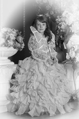 Vintage photo sepia young princess