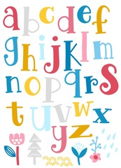 Cute  alphabet with swirls  isolated on background for text, inscription, greeting card, typography, title, design, lettering, children, cover