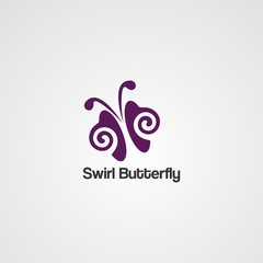 swirl butterfly logo vector, icon, element, and template