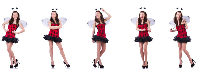 Young woman in bee costume isolated on white