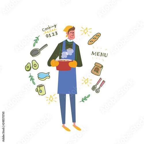 料理をする男性 イラスト ベクターfotoliacom の ストック画像と