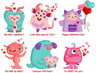 A Vector Set of Cute Monster Celebrating Valentine with Love