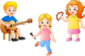 Cartoon kid playing music together