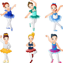 Little girl ballerinas dancing collection set
