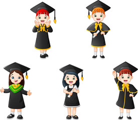 Cartoon kid in Graduation Costumes with different poses