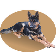 low poly lying German shepherd
