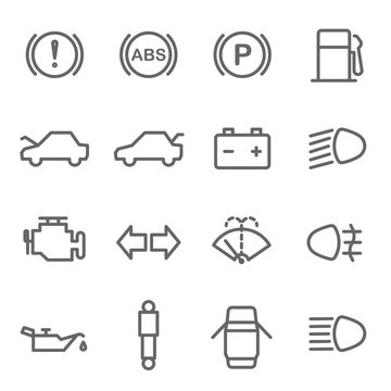 Car Dashboard Vector Line Icon Set. Contains such Icons as Parking, ABS, Battery, Engine, Mechanic and more. Expanded Stroke