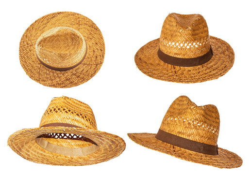 Set of yellow straw hats on white background side view.