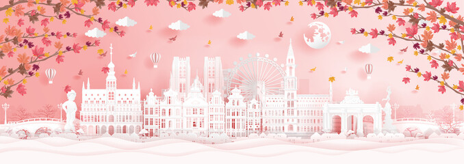 Fototapete - Autumn in Brussels, Belgium with falling maple leaves and world famous landmarks in paper cut style vector illustration