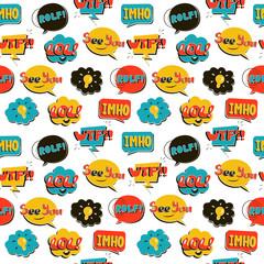 Modern Pop Art comic seamless pattern. Bright speech bubbles on the  white background. Vector illustration