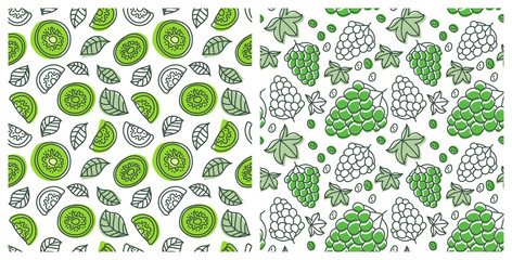 Seamless pattern set. Juicy fruit. Grape and kiwi. Hand drawn color vector sketch background. Colorful doodle wallpaper. Summer print Fototapete