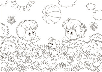 Little children playing a big striped ball on a playground in a summer park, black and white vector illustration in a cartoon style for a coloring book