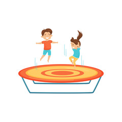 Little boy and girl jumping on trampoline. Kids having fun together. Active leisure. Flat vector design