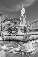Fototapete - The famous fountain of Neptune on Piazza della Signoria in Florence, Italy