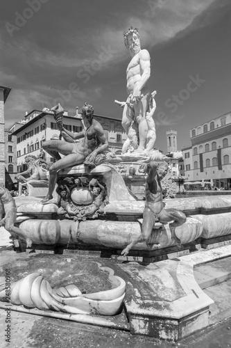 Fototapete The famous fountain of Neptune on Piazza della Signoria in Florence, Italy
