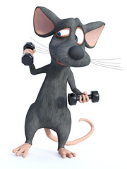 3D rendering of a cartoon mouse doing a workout with dumbbells.