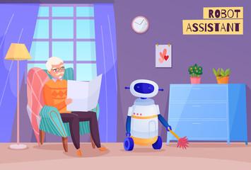 Elderly Man Robot Helper Illustration Wall mural