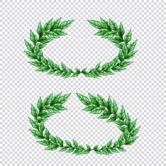 Green Laurel Wreaths Transparent Set