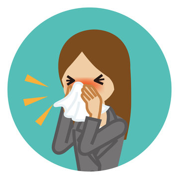 Businesswoman blowing nose with a tissue - Circular icon