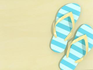 3d render of flip flops over yellow