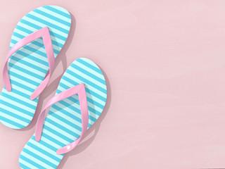3d render of flip flops over pink