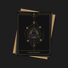 Geometric pyramid astrological tarot card