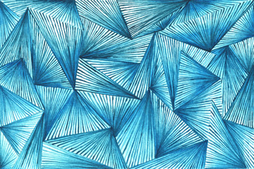 Abstract background with blue triangles and lines. watercolor blue geometric pattern.