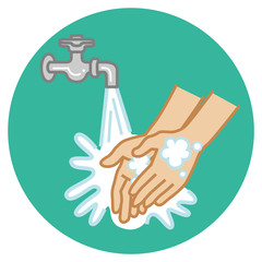 Hand washing concept art - Simple Cartoon style, Circular icon