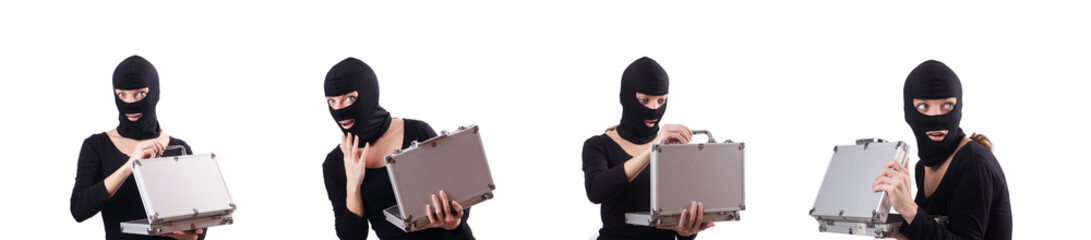 Industrial espionage concept with person in balaclava - fototapety na wymiar