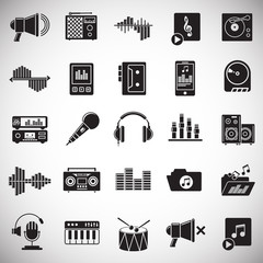 Music and sound icons set on white background for graphic and web design, Modern simple vector sign. Internet concept. Trendy symbol for website design web button or mobile app