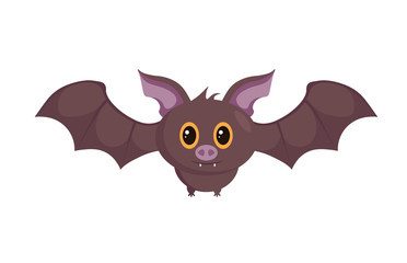 Vector graphics - bat, illustration of cute Halloween cartoon isolated on white background.