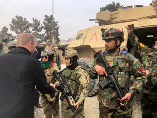 Acting U.S. defense secretary Patrick Shanahan meets with Afghan commandos at Camp Morehead in Kabul
