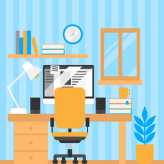 Freelancer home office, freelance designer workplace. Flat furniture and equipment for employee and student